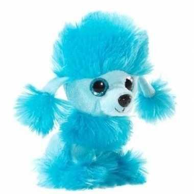 Blauwe pluche poedel honden knuffel 15 cm