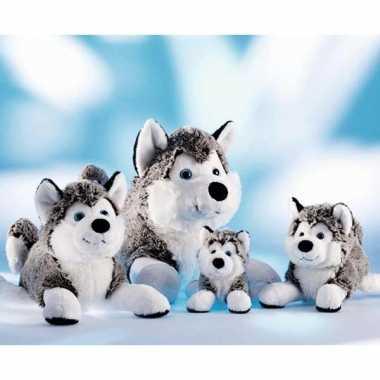 Grijs met witte husky knuffel 24 cm hond