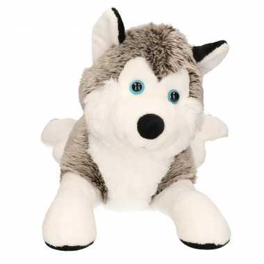Grijs met witte husky knuffel 43 cm hond