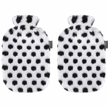 Knuffel 2x zwarte/witte pluche kruiken met dalmatier stippen 2 liter