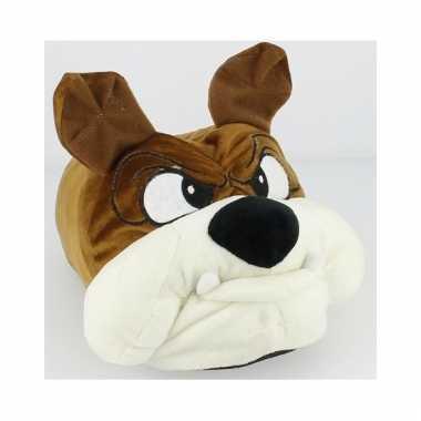 Knuffel bruine honden pantoffels voor heren