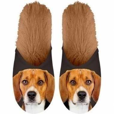 Knuffel dieren beagle hond instap sloffen/pantoffels voor kinderen