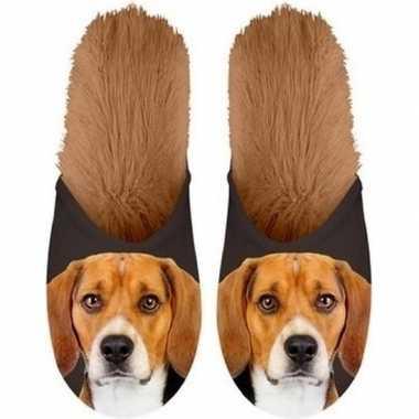 Knuffel dieren beagle hond instap sloffen/pantoffels voor volwassenen