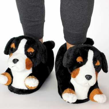 Knuffel dieren berner sennen hond pantoffels/sloffen voor kinderen maat 34-36