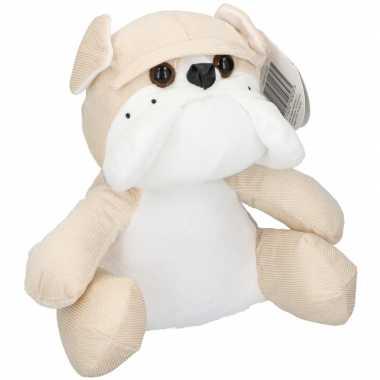 Knuffel dieren deurstopper beige bulldog hond 20 cm
