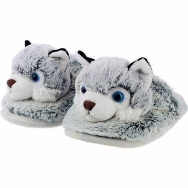 Knuffel dieren husky hond instap sloffen/pantoffels voor kinderen
