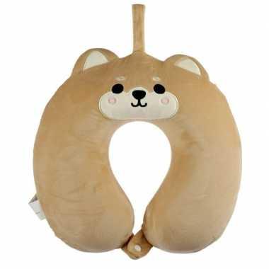 Knuffel hond/puppy nekkussen met ophanglus voor kinderen
