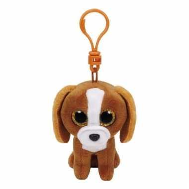 Knuffel hond/puppy ty beanie tala sleutelhanger 12 cm