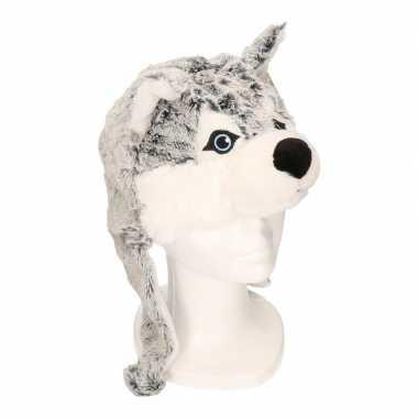 Knuffel husky hond / wolf muts met flappen voor kinderen