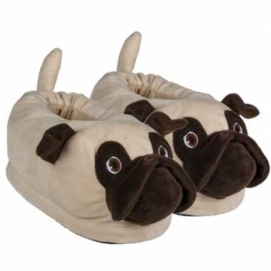 Knuffel pluche dieren mopshond sloffen/pantoffels voor volwassenen