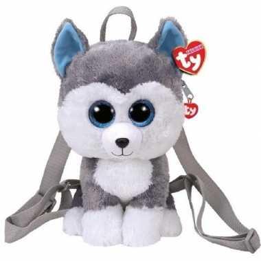 Knuffel pluche ty beanie grijze husky hond rugzak slush voor kinderen