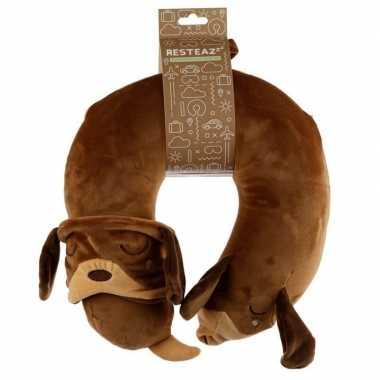 Knuffel teckel nekkussen met slaapmasker reisset voor kinderen hond
