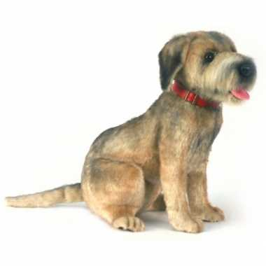 Knuffel zittende pluche borderterrier hond 44 cm