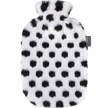 Knuffel zwarte/witte pluche kruik met dalmatier stippen 2 liter hond
