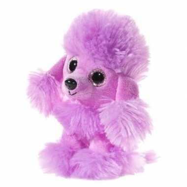 Paarse pluche poedel honden knuffel 15 cm