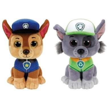 Paw patrol knuffels set van 2x karakters chase en rocky 15 cm hond