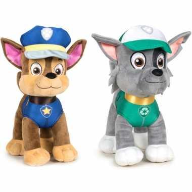 Paw patrol knuffels set van 2x karakters chase en rocky 27 cm hond
