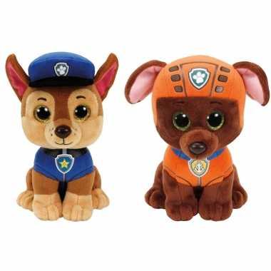 Paw patrol knuffels set van 2x karakters chase en zuma 15 cm hond