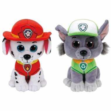 Paw patrol knuffels set van 2x karakters marshall en rocky 15 cm hond
