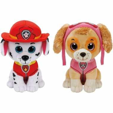 Paw patrol knuffels set van 2x karakters marshall en skye 15 cm hond