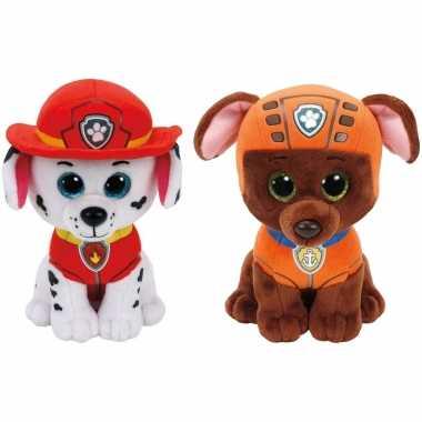 Paw patrol knuffels set van 2x karakters marshall en zuma 15 cm hond