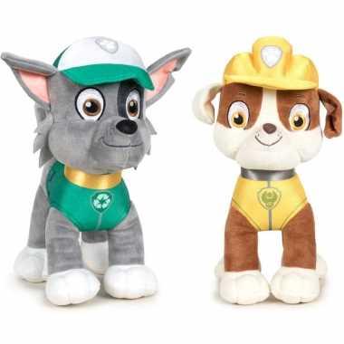 Paw patrol knuffels set van 2x karakters rocky en rubble 27 cm hond