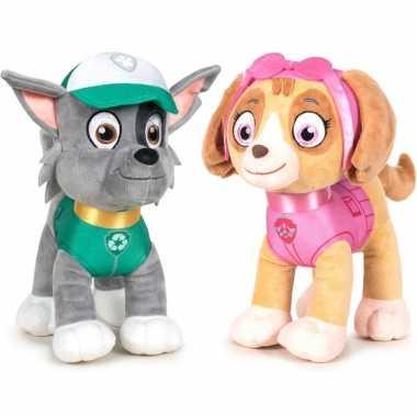 Paw patrol knuffels set van 2x karakters rocky en skye 27 cm hond