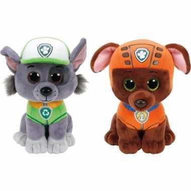 Paw patrol knuffels set van 2x karakters rocky en zuma 15 cm hond