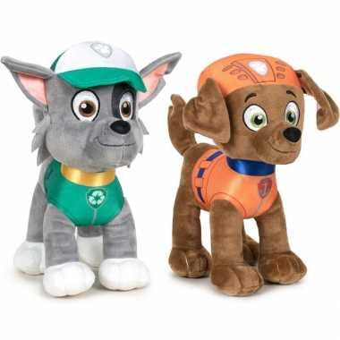 Paw patrol knuffels set van 2x karakters rocky en zuma 27 cm hond