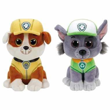 Paw patrol knuffels set van 2x karakters rubble en rocky 15 cm hond
