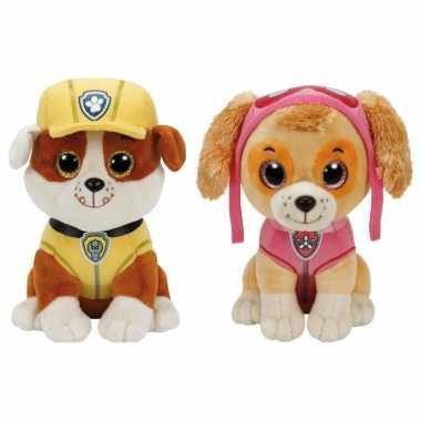 Paw patrol knuffels set van 2x karakters rubble en skye 15 cm hond