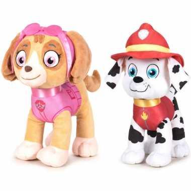 Paw patrol knuffels set van 2x karakters skye en marshall 27 cm hond
