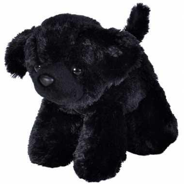 Pluche hond zwarte labrador knuffeltje 18 cm