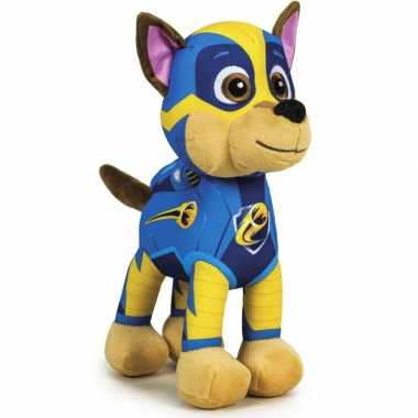 Pluche paw patrol chase mighty pups knuffel 27 cm speelgoed hond
