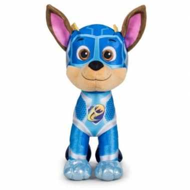 Pluche paw patrol chase mighty pups super paws knuffel 27 cm hond