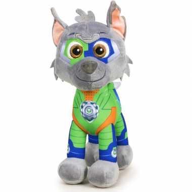 Pluche paw patrol rocky mighty pups knuffel 27 cm speelgoed hond