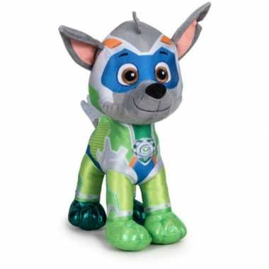 Pluche paw patrol rocky mighty pups super paws knuffel 27 cm hond