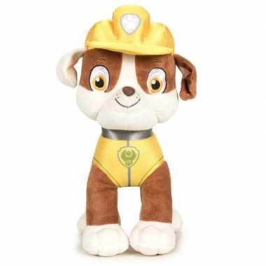 Pluche paw patrol rubble classic knuffel 19 cm hond