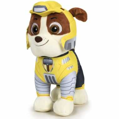 Pluche paw patrol rubble mighty pups knuffel 27 cm speelgoed hond
