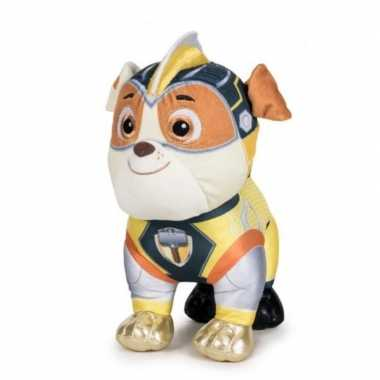 Pluche paw patrol rubble mighty pups super paws knuffel 27 cm hond