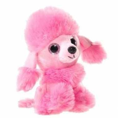 Roze pluche poedel honden knuffel 15 cm