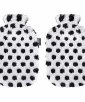 Knuffel 2x zwarte witte pluche kruiken met dalmatier stippen 2 liter hond