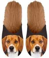 Knuffel dieren beagle hond instap sloffen pantoffels voor kinderen