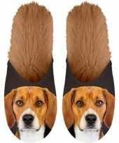 Knuffel dieren beagle hond instap sloffen pantoffels voor volwassenen