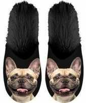 Knuffel dieren franse bulldog hond instap sloffen pantoffels volwassenen