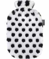Knuffel zwarte witte pluche kruik met dalmatier stippen 2 liter hond