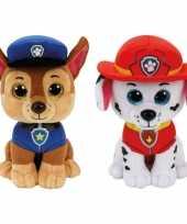 Paw patrol knuffels set van 2x karakters chase en marshall 15 cm hond