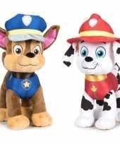 Paw patrol knuffels set van 2x karakters chase en marshall 27 cm hond
