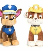 Paw patrol knuffels set van 2x karakters chase en rubble 27 cm hond
