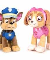 Paw patrol knuffels set van 2x karakters chase en skye 27 cm hond